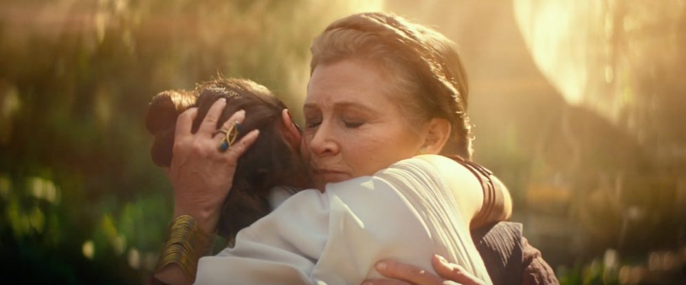 Leia and Rey hugging