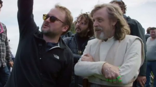 Rian Johnson with Mark Hamill on the set of The Last Jedi