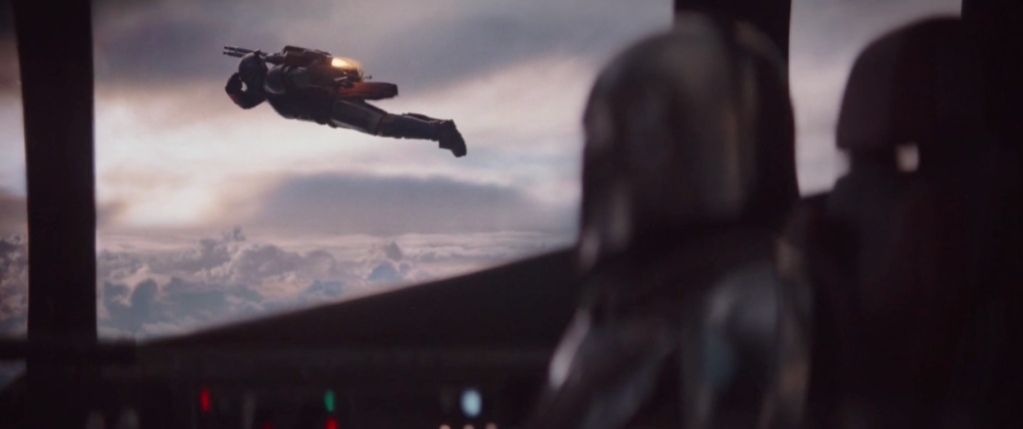 The Mandalorian leaving on his ship when another member used his jetpack.