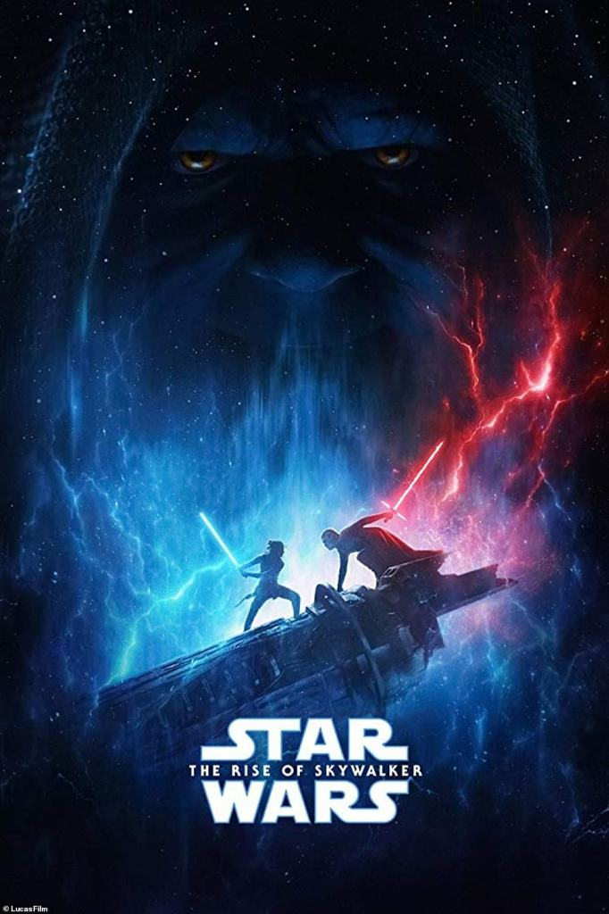 star wars the rise of skywalker poster with palpatine in the background