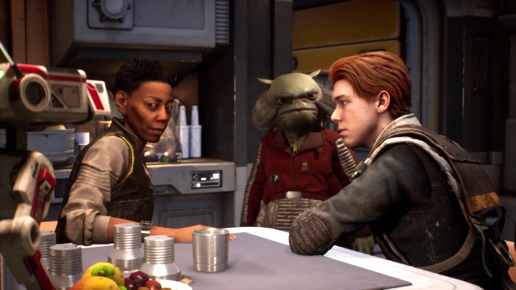 Cal, Cere, and Greez all on the Mantis. Star Wars Jedi: Fallen Order