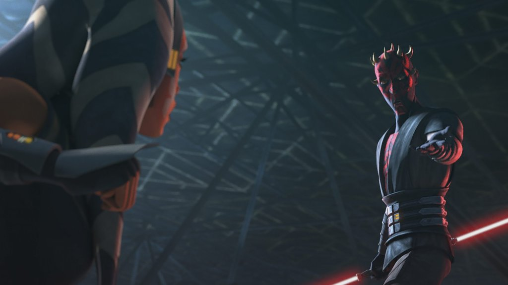 Ahsoka and Maul duel where his power overcomes Ahsoka and she loses her lightsabers, but his powerful strikes aren't as controlled as Ahsoka's and she is able to dodge his strikes and eventually best Maul, throwing him off the loth-catwalk.