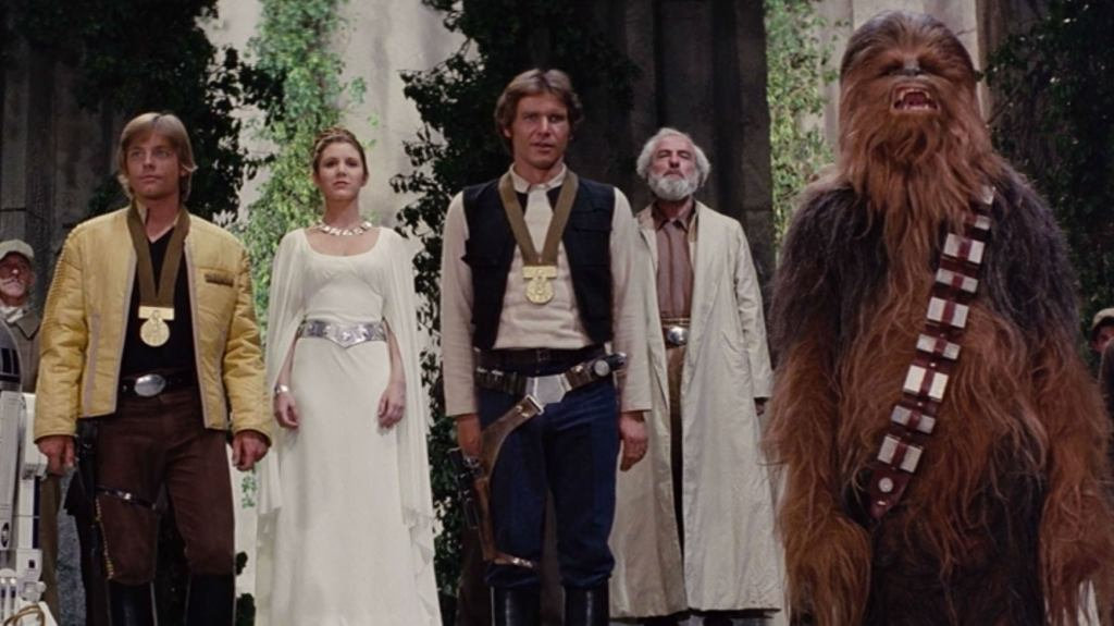 This is something that Star Wars fans have joked about since Episode IV released. Chewbacca did just as much fighting as the other guys, but he didn't get a medal like Luke and Han. Rather heartbreaking for poor Chewbacca who had lived through two major wars at that point.