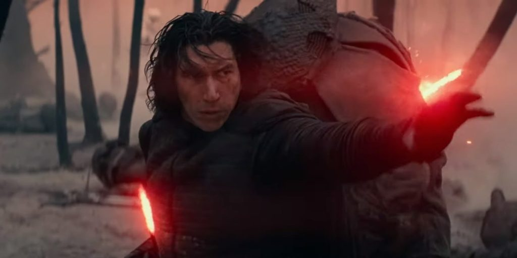 This is our first glimpse of Kylo Ren for this new movie. He and his troopers are rampaging through the forest of Mustafar. He's slaying Vader Cultists, who remained on the planet after Vader had built his castle.