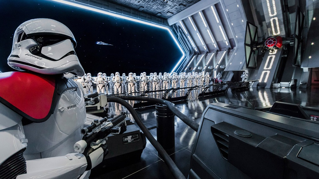 This is the newest addition to Galaxy's Edge. Here you will be able to ride in a cart as you watch the resistance fight the First Order aboard on of their ships. This ride is really exciting and a wonderful addition to the park.