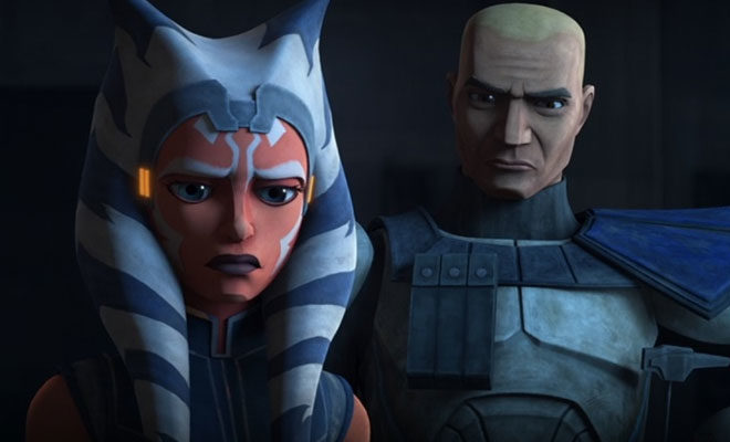 The Clone Wars episode 12  Ahsoka and Rex must find a new way out and thanks to their droid friends helping to manipulate the floors of the main hanger they are able to safely get below the main hanger deck. Down there they run into some trouble, but they still are able to find a ship.