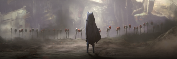 The Clone Wars episode 12 finale. This scene is heavy, Ahsoka sets the helmets on sticks and makes the crashed ship a gravesite for them. This is also where we see Ahsoka put on the cape and hood, drop a lightsaber, and become a hidden entity in the galaxy.